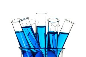 Test tubes blue liquid, Laboratory Glassware