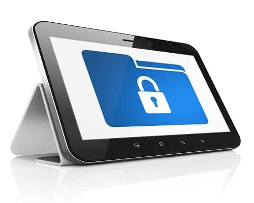 Finance concept: black tablet pc computer with Folder With Lock icon on display. Modern portable touch pad on White background, 3d render