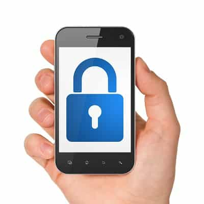 Hand holding smartphone with closed padlock on display. Generic mobile smart phone in hand on white background.