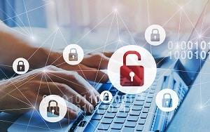 hacker attack and data breach, information leak concept, futuristic cyber  background with broken lock