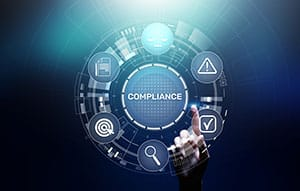 Compliance concept with icons and text. Regulations, law, standards, requirements, audit diagram on virtual screen.